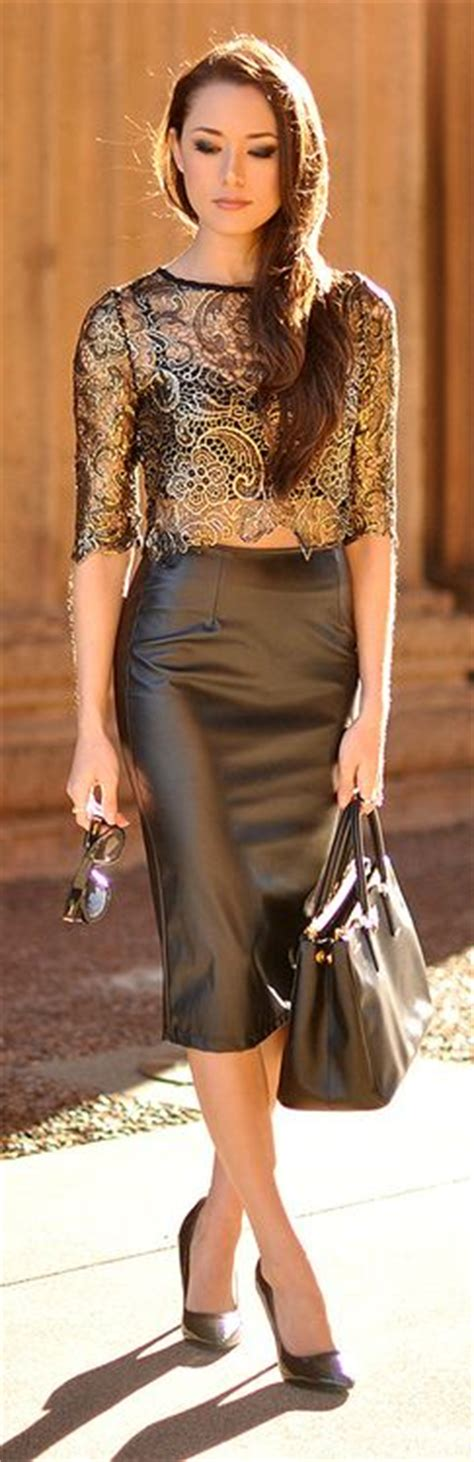 Gorgeous Leather Pencil Skirt With A Sheer Gold Lace Top