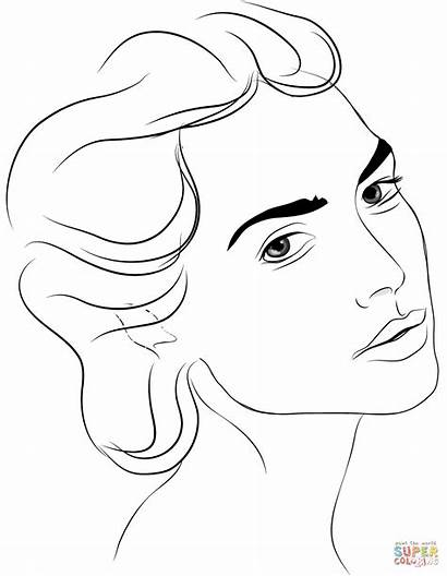 Coloring Face Pages Woman Side Profile Printable