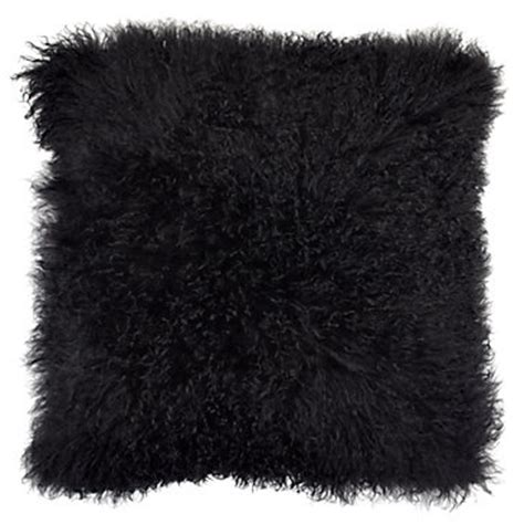 black mongolian fur pillow  gallerie