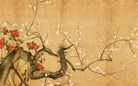 Anime China Keren Japanese Flowers Wallpaper Painting High