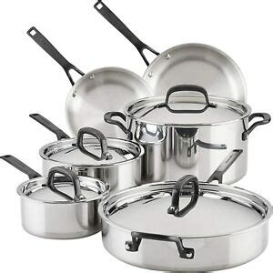 kitchenaid  ply clad polished stainless steel cookware pots  pans set  pi ebay