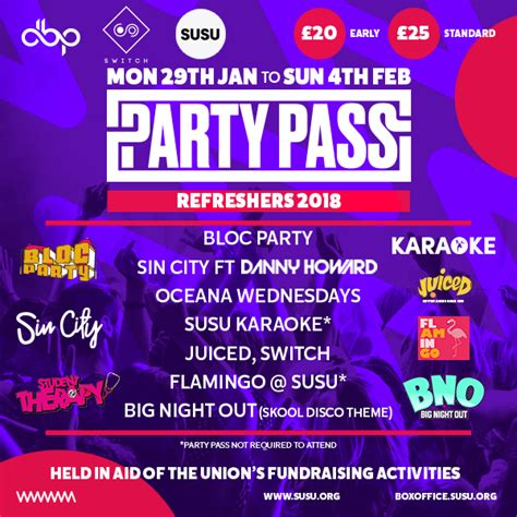 refreshers party pass students union blog