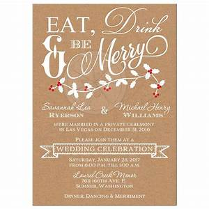 Winter Wedding Reception Invitation Eat, Drink & Be