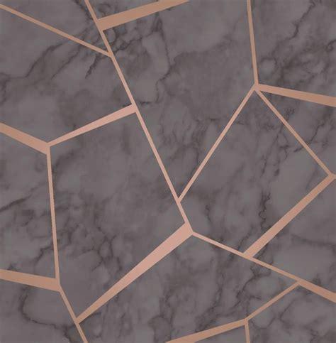 Fine Decor Marblesque Charcoal Rose Gold Wallpaper FD42266