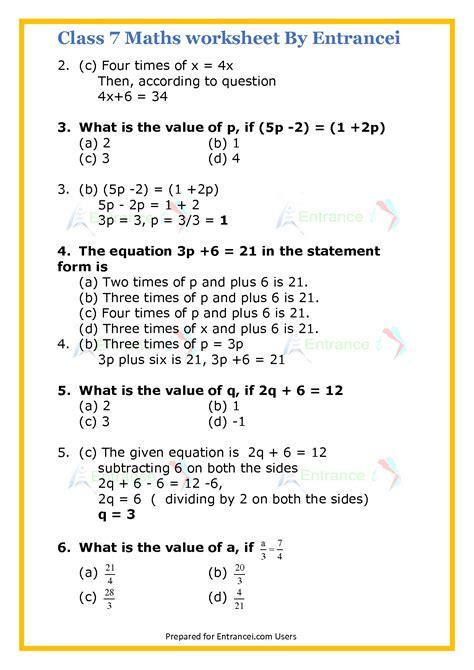 cbse class  maths worksheet  chapter  simple equations