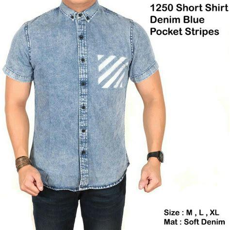 Kemeja Topman Pocket Denim jual beli kemeja denim pendek pocket stripes blue baju