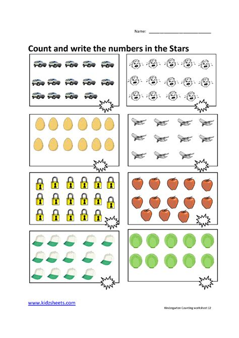 Kidz Worksheets Kindergarten Counting Worksheet12