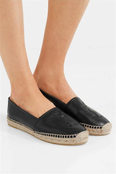 saint laurent black ysl logo monogram leather espadrilles  flats size eu  approx
