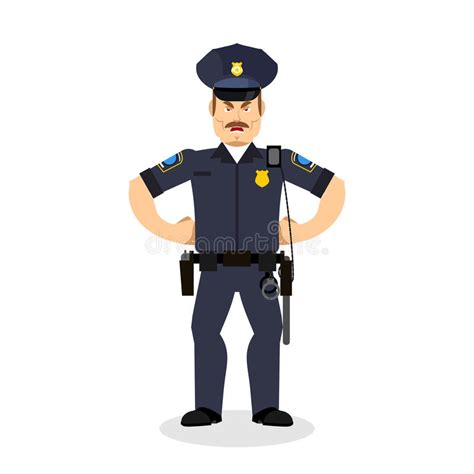 Angry Policeman Wrathful Cop Aggressive Officer Police