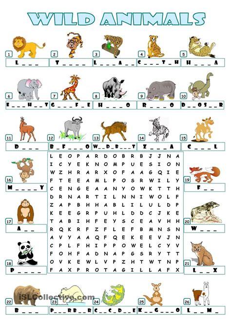 WILD ANIMALS WORDSEARCH Englannin kieli Opetus Englanti