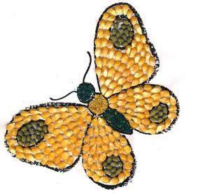 gambar kolase kupu  biji bijian ilustrasi hewan