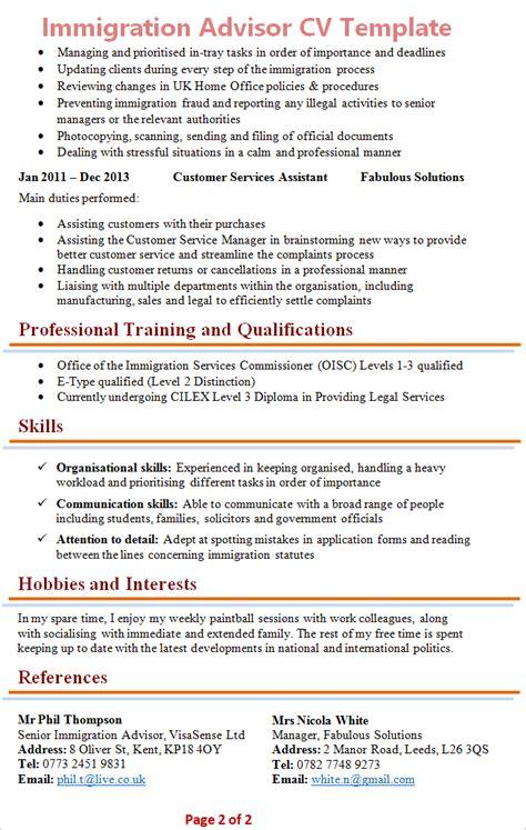 immigration advisor cv template