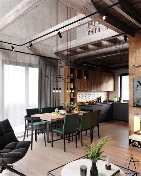 Style Home Interior by Warm Industrial Style House With Layout