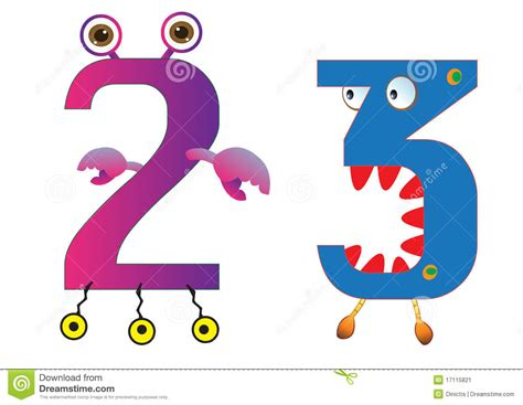 Cute Monster Numbers 2 And 3 For Kids And Children Stock