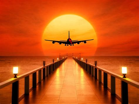 sunset airplane takeoff  images  wallpapers hd