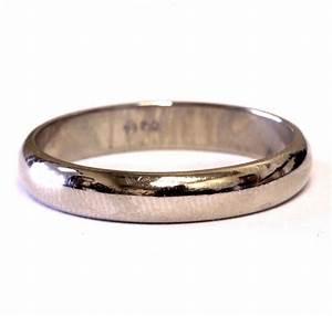 14k white gold 4mm mens wedding band ring estate vintage 4 for Mens vintage wedding ring