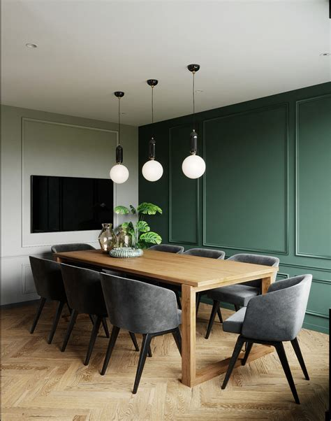 emerald green dining room accent wall  classic