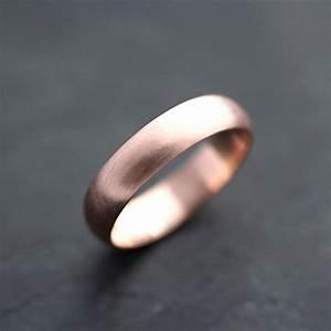 Men39s Rose Gold Wedding Band 5mm Brushed Half Round 14k