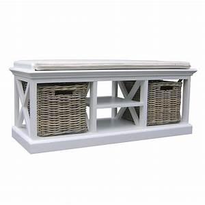 Banc avec paniers en rotin torini meuble d39entree for Porte d entrée pvc avec meuble de salle de bain avec panier en osier