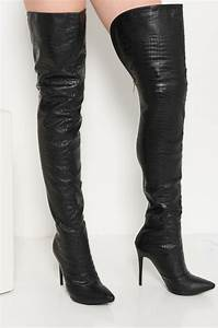 Boot Size Chart Akira Faux Crocodile Skin Zip Up Thigh High Stiletto Heel