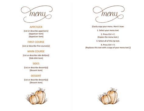 thanksgiving menu templates  menu templates