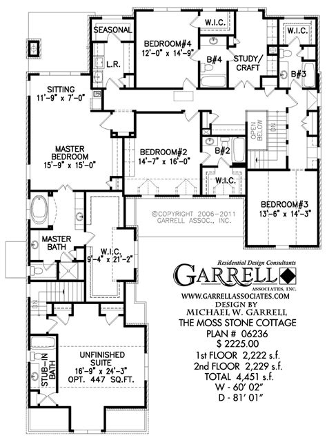 cottage house floor plans moss cottage house plan house plans by garrell associates inc
