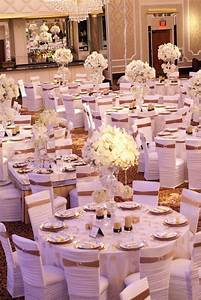 reception decor photos all white chair covers with gold With white and gold wedding decor