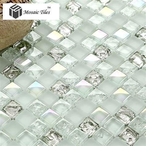 Iridescent Tiles Backsplash Uk by White Iridescent Mosaics Glass Silver Kitchen Backsplash