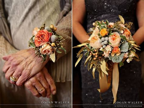 New Years Eve Wedding Flowers Utah Calie Rose Peach Gold