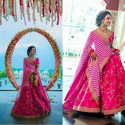 Bridal Lehenga Draping - 17 unique dupatta draping style for your bridal lehenga