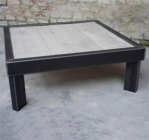 Table Bois Blanchi : table basse bois metal sur pied table basse design ~ Teatrodelosmanantiales.com Idées de Décoration