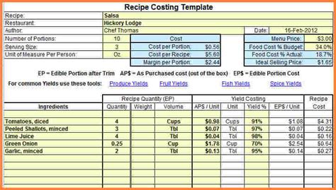 food costing spreadsheet excel spreadsheets group