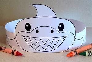 Shark paper crown color your own printable for Shark hat craft template
