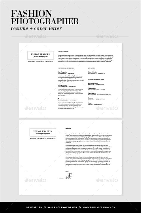 fashion resume cover letter photographer resume cover letter by psolanoy graphicriver