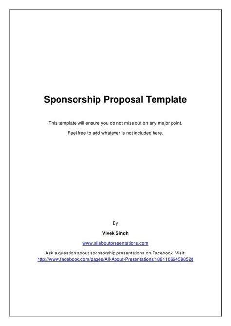 sponsorship proposal template proposal templates