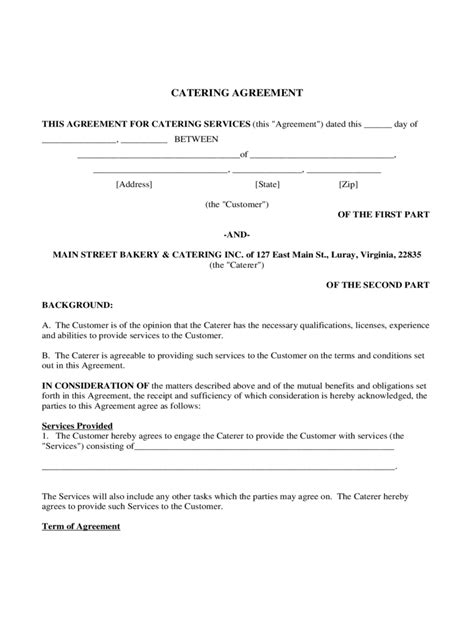 catering contract template catering contract template 6 free templates in pdf word excel