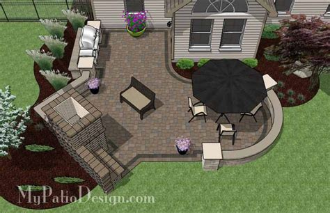 shaped patio design  grill station  fireplace