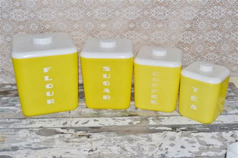 yellow canister sets kitchen lustro ware yellow canister set set of 4 vintage yellow