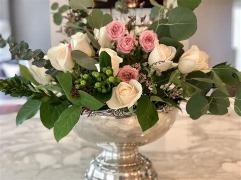 rose  eucalyptus floral arrangement step