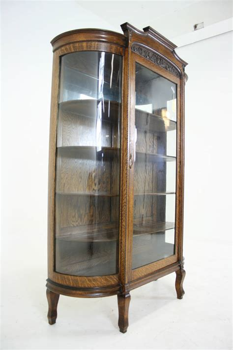 oak curio cabinets for antique american tiger oak bow front china display curio
