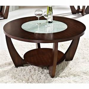 rafael round coffee table crackled glass dark cherry With cherry wood and glass coffee table
