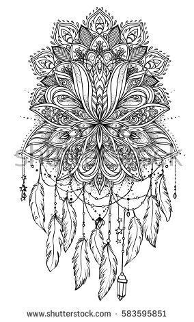 Hand drawn Native American Indian talisman dreamcatcher with feathers and moon. Vector hipster