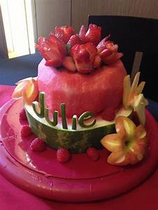 Watermelon and fresh fruit birthday cake | Birthday/Party ...