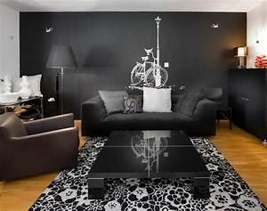 12 superbes decorations de salon avec un canape noir With tapis exterieur avec grand canapé confortable