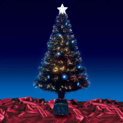 beautiful 4ft 120cm black fibre optic christmas tree with