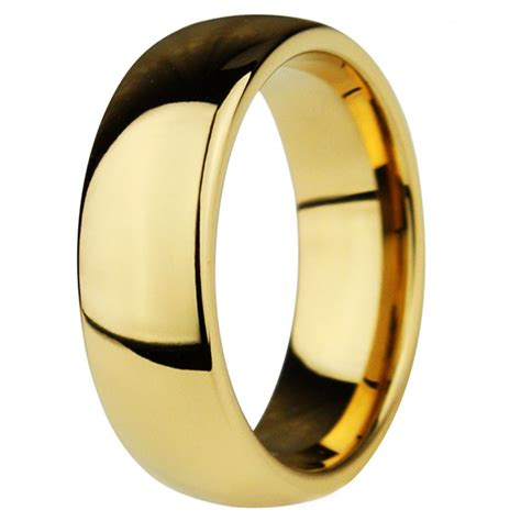 men s gold plated dome tungsten personalised wedding band ring bijouxstore webid 66