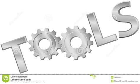 word tools shiny metal tools technology gear icon word stock vector