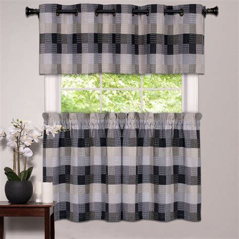 kitchen window curtain classic harvard checkered tiers