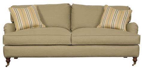 english arm upholstered apartment sized  cushion sofa