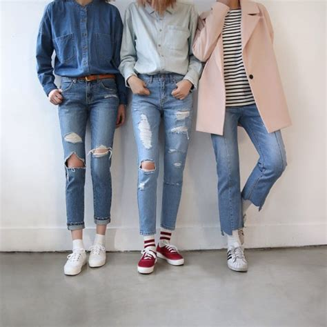 Jeans tumblr tumblr outfit cute outfits aesthetic ripped jeans all denim outfit - Wheretoget